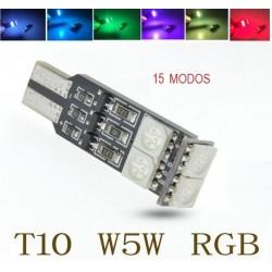 Luz LED T10 RGB 6 LEDs 15 Funciones 7 Colores