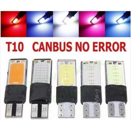 Luz LED T10 Plano 194 168 W5W COB 2 leds